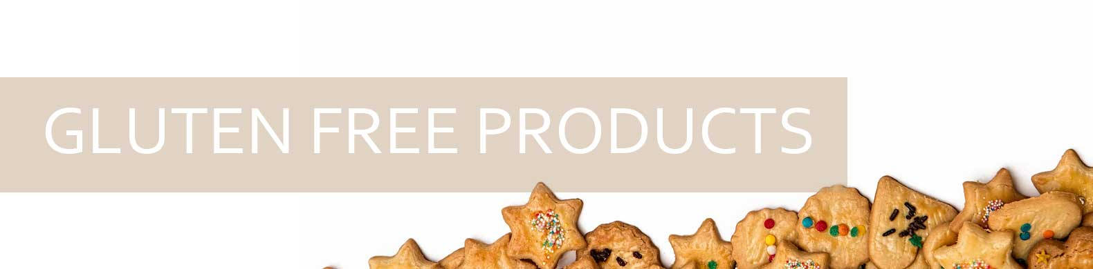banner gluten-free products look legs with heart and star shapes.