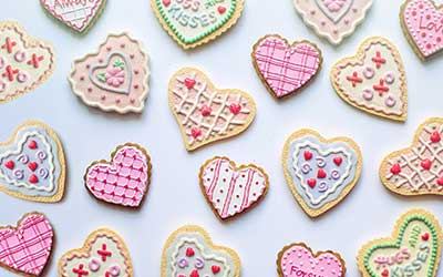 colored heart-shaped tea pastries