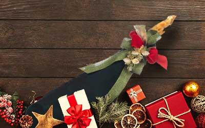 jambon à côté de motifs de Noël.
