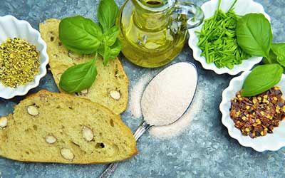 bread, gluten-free flour, seeds oil and basil