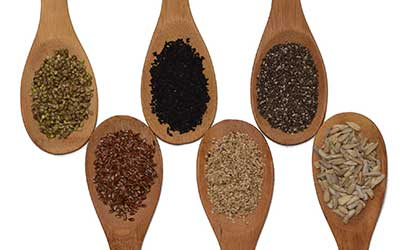 wooden spoons lined with different types of seeds