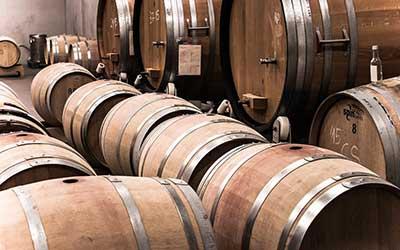 Wijnkelder met gigantische vaten.