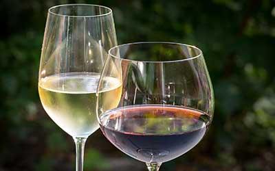 glas met rode wijn en glas met witte wijn.